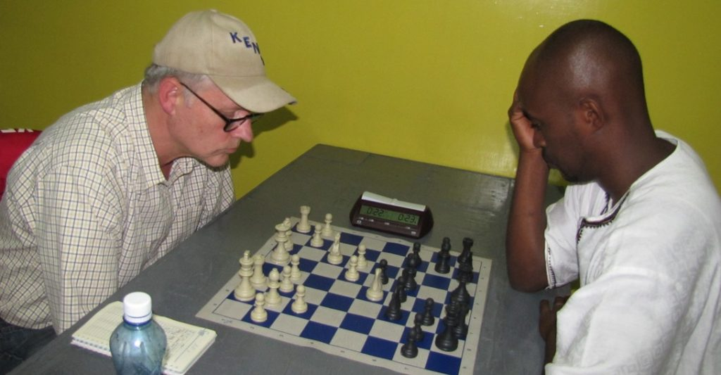 Kenya's number 1 player Peter Gilruth (left) takes on Maputo hopeful Wachira Wachania in the 2011 All African Games chess qualifiers.