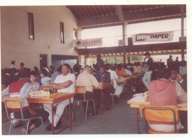 Mr Younis Din (brown shirt away from the camera) during the 1993 Kenya Open at Braeburn School.