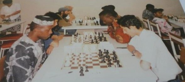 Andolo Ambasi (left) takes on Mehul Gohil during their encounter in a chess tournament held at United Kenya Club.