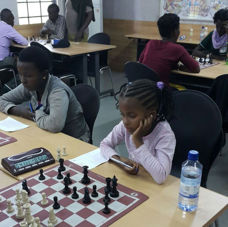 Charming chess player - Happiness Mutete a student of Ecole Primaire Kinunga