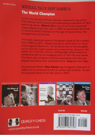 Back cover of the book - Mikhail Tal's Best Games 2.