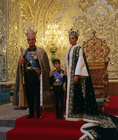 Shah Mohammad Reza with his consort and crown prince after the coronation, 1967. Photo credit www.kiddle.co.