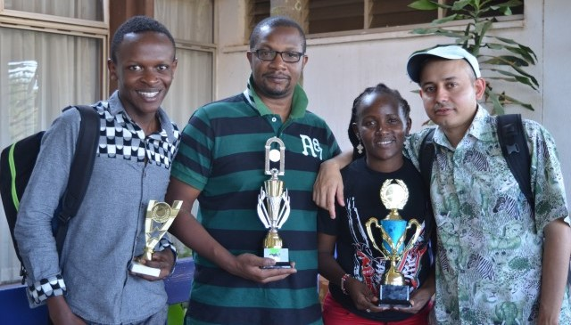 Happy winners. From left Timothy Milton, Ben Nguku, Jane Wambugu & Mehul Gohil.