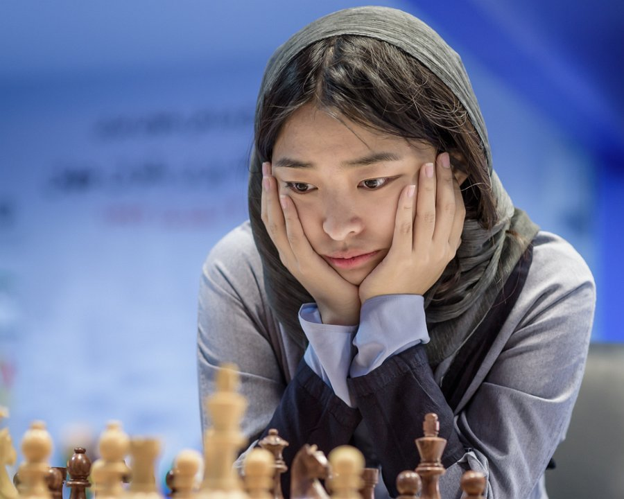 Wenjun Ju from China who is rated 2558 and winner of the Tehran Grand Prix on her way to victory.