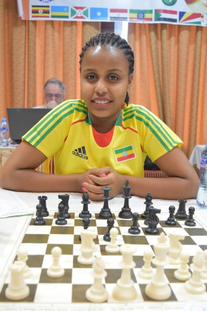 The beautiful Feven Gebremeskel of Ethiopia who ended up with 4/9 points. (photo by CSB Photography of Dar es Salaam)