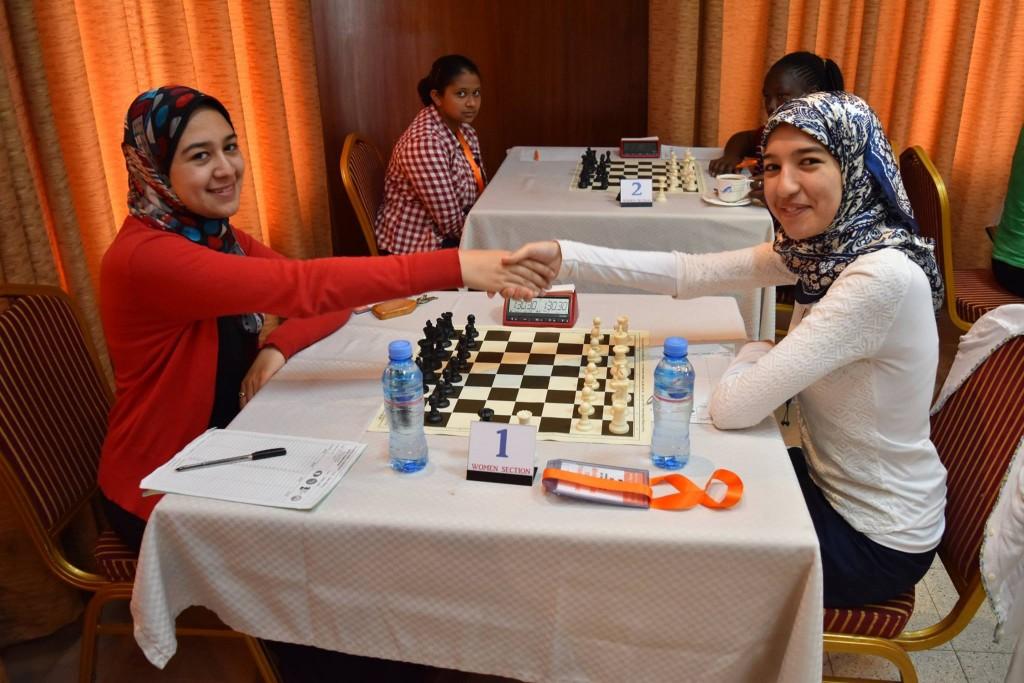 Gold medalist WGM Wafa Shrook (left) & Silver medalist WFM Eman Elansary both of Egypt. (photo by CSB Photography of Dar es Salaam).