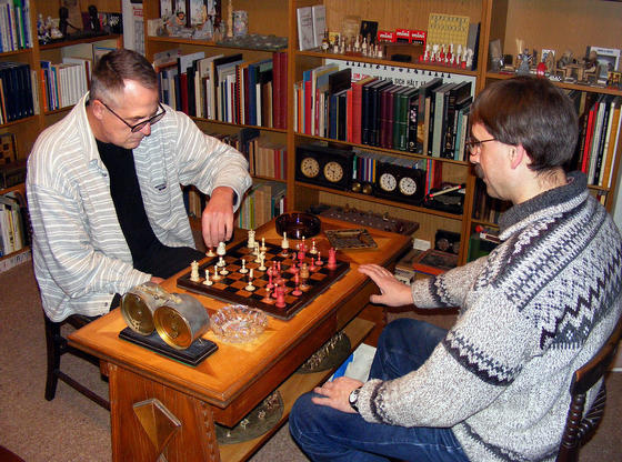 Lothar Nikolaiczuk (left) plays against a friend Hans-Jürgen Fresen on the board that belonged to Adolf Anderssen who was one of the strongest German chess player of the 19th century. Photo credit Johannes Gross of www.ruhrnachrichten.com