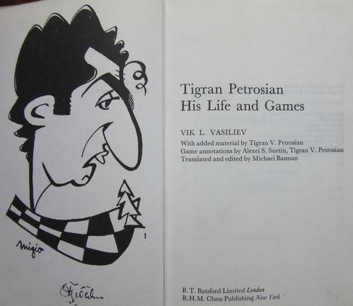 Caricature of Tigran Petrosian in the book by Vik Vasilev.