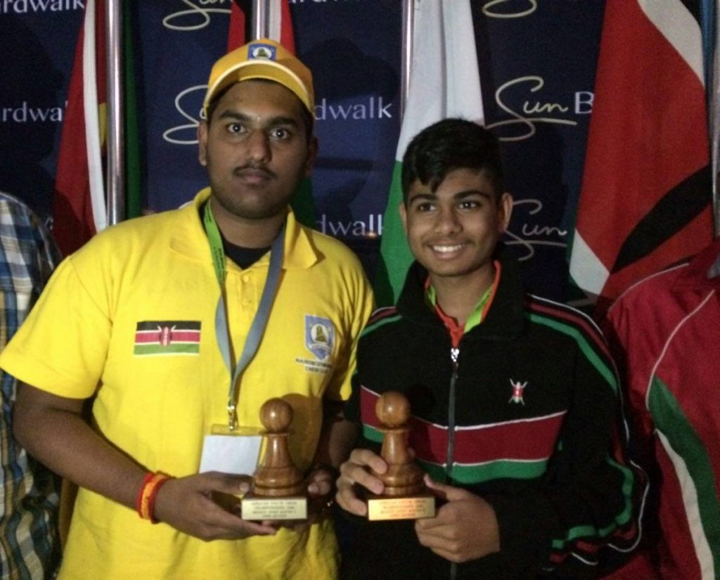 Satya Iyier (left) and Dev Shah with their prizes. Proud moments for Kenya.