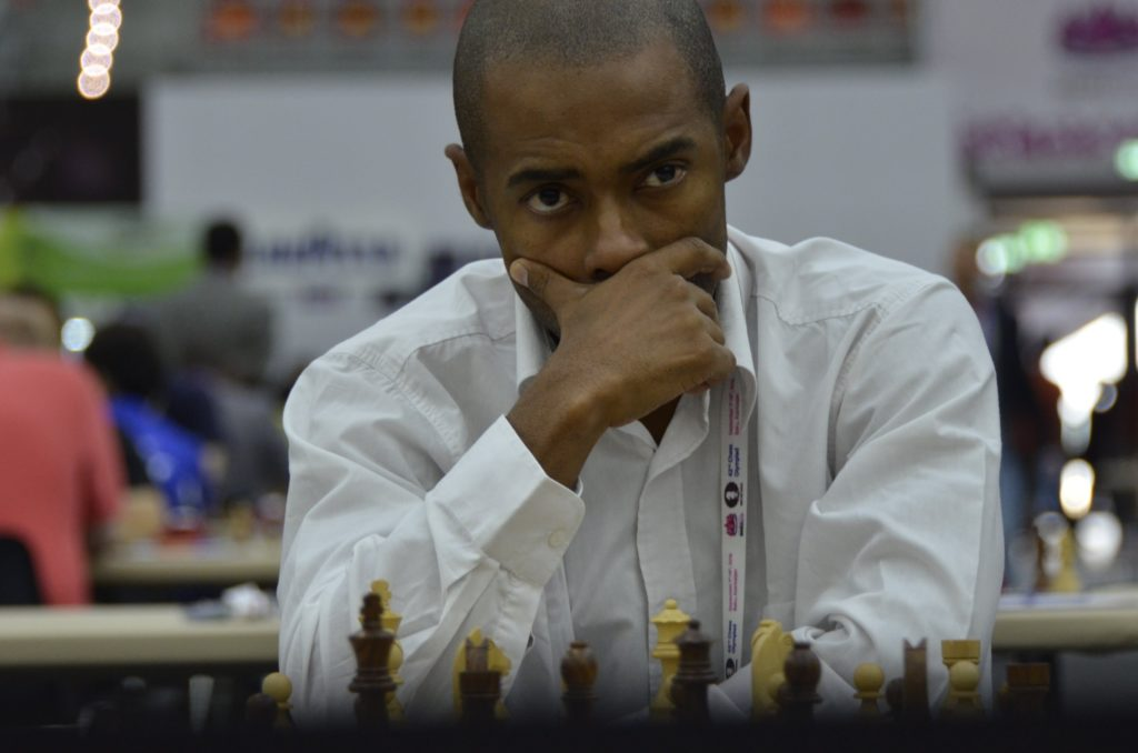GM Kenny Solomon in a pensive mood at the 2016 Baku Olympiad where he played Board 1 for South Africa. Photo by Kim Bhari.
