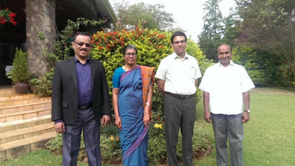 From left Mr Satish Deshpande, Her Excellency Suchitra Dura, GM Vishanathan Anand, Mr Swaminathan.