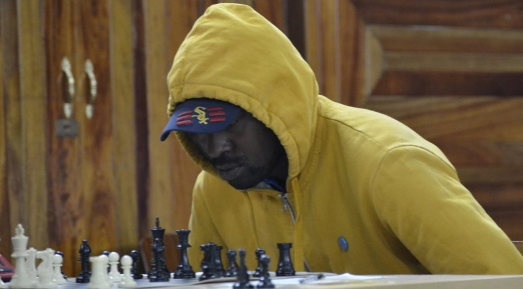 Defending Nairobi Chess Club Champion - Moses Andiwoh in action during the 2017 edition.