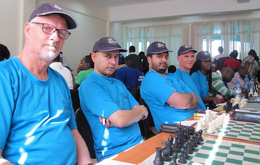 Nairobi Chess Club team from left to right Peter Gilruth, Mehul Gohil, Vasanth Ramesh, Roberto Viluella and Rebecca Nyamahiga.