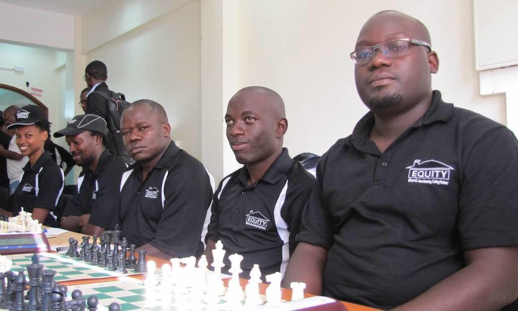 Equity Bank Chess Club from right to left Arthur Ssegwanyi , IM Elijah Emojong, FM Steve Ouma, Moses Andiwoh and Daphne Mwikali.
