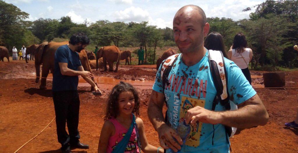 Nahui & David Llada at the Daphne Sheldrick Elephant Centre in Nairobi.