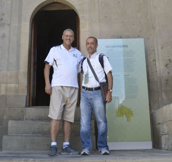 Dr Lyndon Bouah with Kim Bhari at the Palace of the Shirvanshahs in Baku during the 2016 Olympiad. Lyndon was a participant in the 1993 Africa Junior Chess Championship that was held in Nairobi.