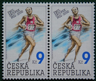 Stamp in honour of Emil Zatopek.