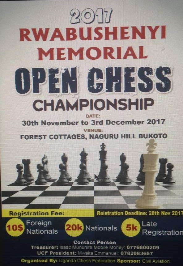 Poster for Rwasbushenyi Memorial Open Chess Championship.