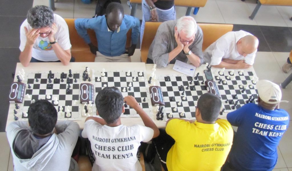 Nairobi Chess Club in action against Nairobi Gymkhana. Top from left - Willy Simons, James Panchol, Peter Gilruth and Mehul Gohil.
