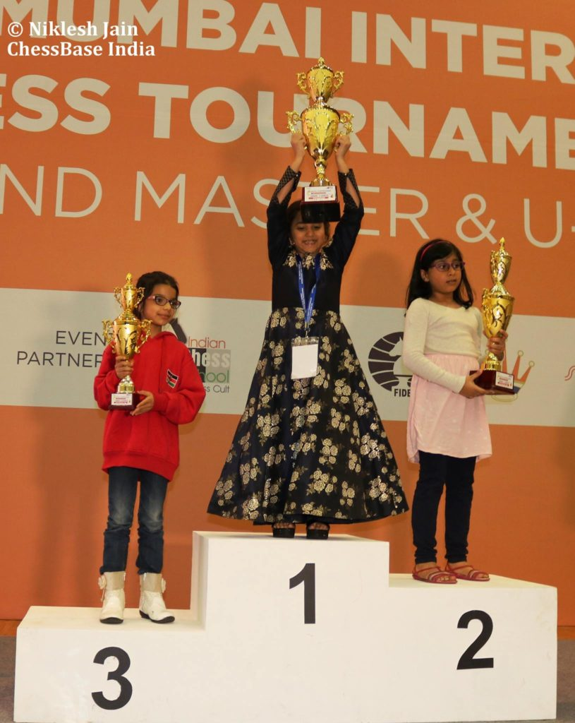 Janvi Nipul Shah of Kenya in 3rd position for the U7 category. Photo credit Niklesh Jain of ChessBase India.