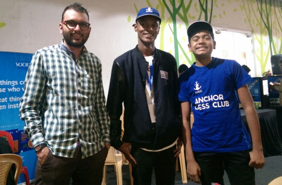 Anchor Chess Club founder Paras Gudka (left) with his team mates Brian Kariuki and Sumit Deshpande.