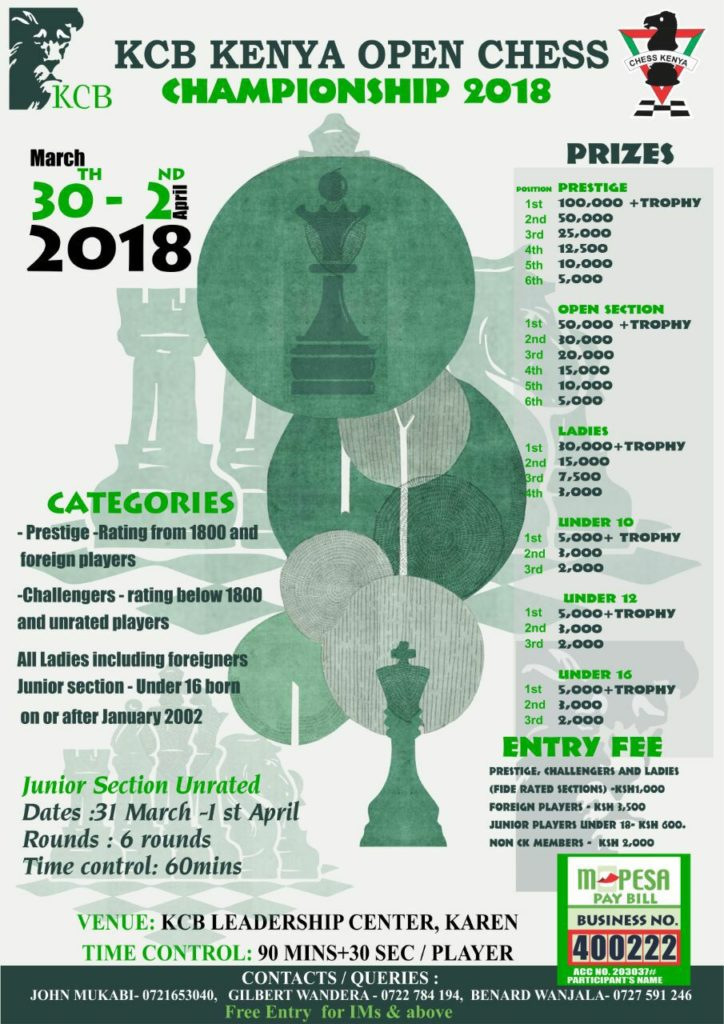 Poster for the KCB Kenya Open Chess Championship.