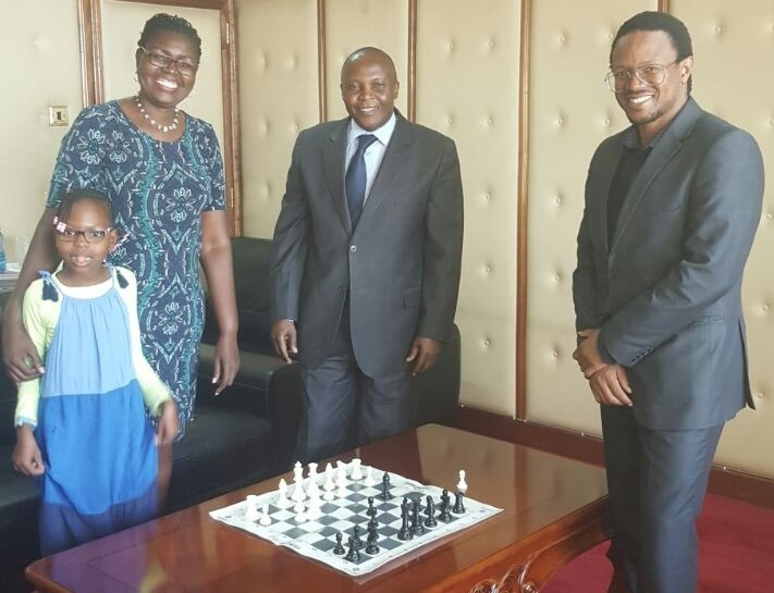 Directors of Lighthouse Chess Club meeting with the Education PS.   Standing from left to right Yvonne, Judith Kiragu, Professor Japheth Ntiba and Dr Mwashe.