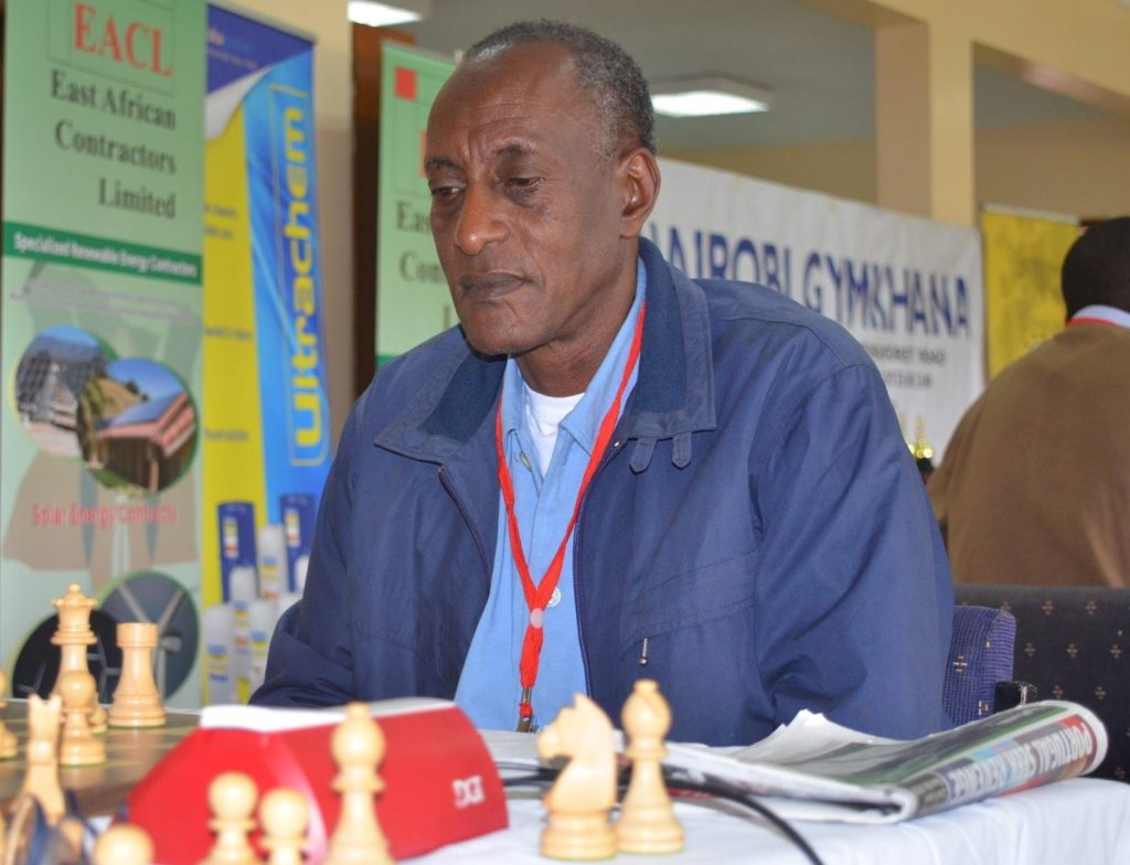 Josepeh Kaamu in action during the 2016 Millionaires Chess Tournament at Nairobi Gymkhana.