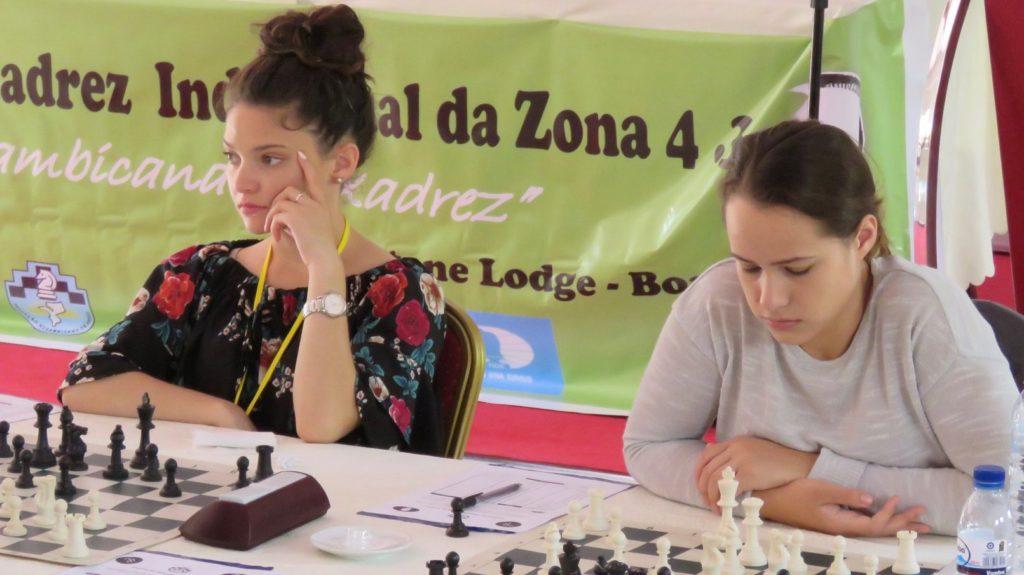 Team mates in action - Megan Van Niekerk (left) and Jesse February.