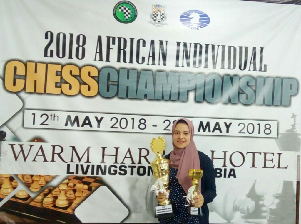 WGM Wafa Sahenda poses with her trophies. Photo credit Egyptian Chess Federation.