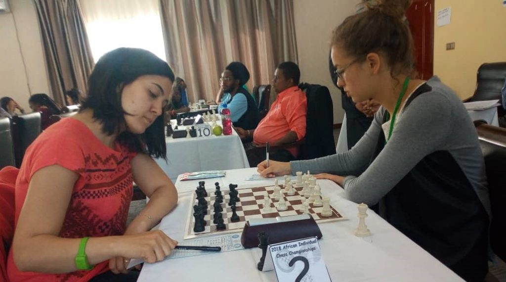 WIM Amina Mizioud of Algeria (left) in action against WIM Amina Sherif of Egypt. Photo credit Jeffrey Kanguma.