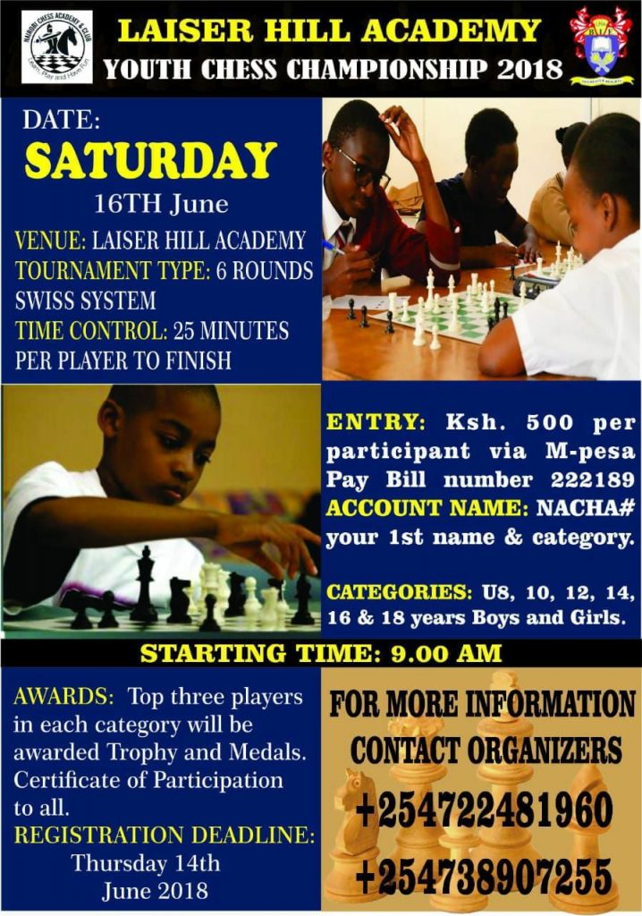 Poster of the Lasier Hill Academy Youth Chess Championship.