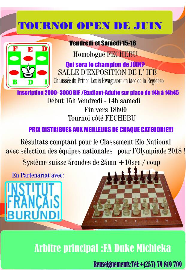 Poster for the event to select the Burundi team to the 2018 Batumi Olympiad.