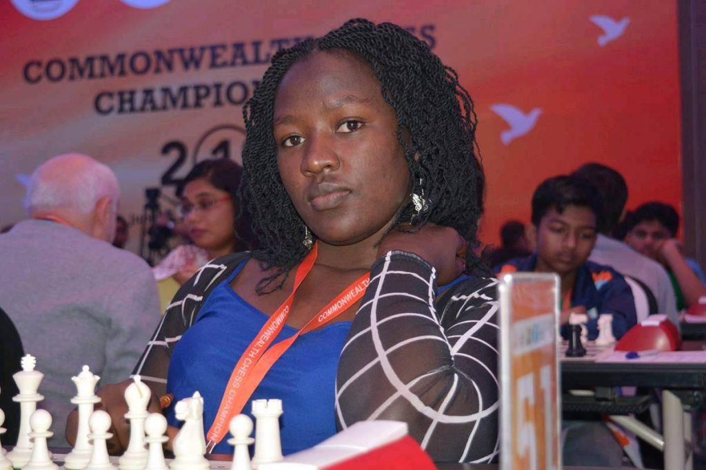 Kenya National Ladies Chess Champion WCM Joyce Nyaruai in action.