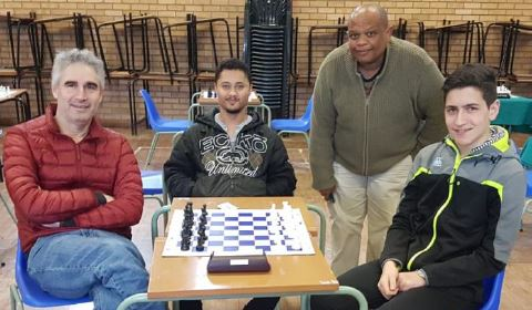 Top players from South Africa from left IM David Gluckman, FM Calvin Klaasen, IM Watu Kobese & FM Paul Gluckman.