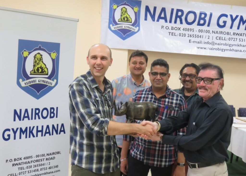 From left GM David Smerdon, Pravin Halai (Nairobi Gymkhana Executive Committee member), Nairobi Gymkhana Chess Committee members: Shekar Subramaniam, Biren Shah & Rasik Shah (Indoor Secretary - Nairobi Gymkhana).