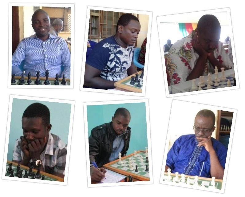 Team Togo. From top left Botsoe Koffi (board 1), Amewounou Komlan Kouessan (board 2), CM Ephoevi-Ga Adama Mawulikplimi (board3). Bottom row from left Kara Kolani-Banake Sopague (board 4) & Numatsi Yawotsu Dzigba (reserve) - . Bottom left (board 4) and bottom right Kouvi Mawuvi Koue (board 3) & non playing captain Kouevi Mawuvi Koue.
