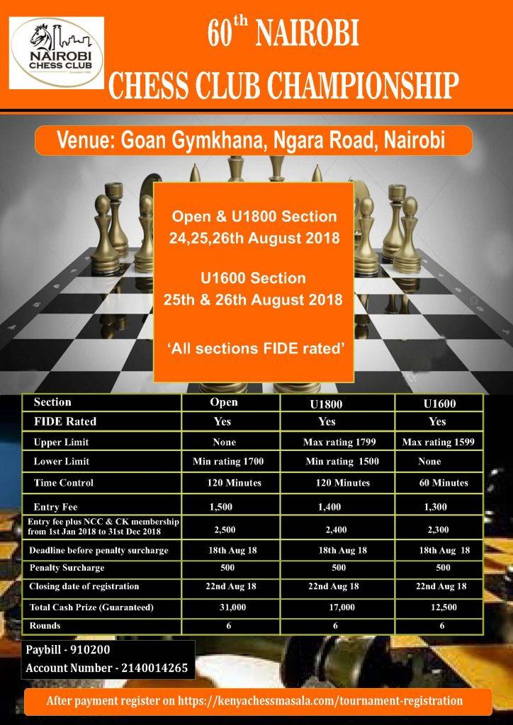 Poster of the 60th Nairobi Chess Club Championship.