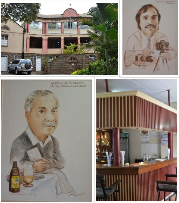 Photos of Goan Gymkhana. Top left is the building, bottom right is the bar. The bar has some paintings (top right & bottom left) of prominent Goan personalities done by Prakash Pandit. The club was opened on 22nd May 1936.
