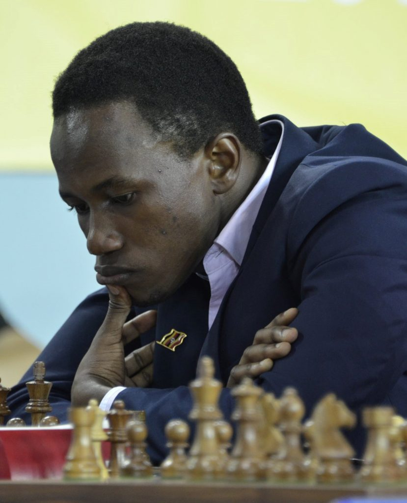 FM Patick Kawuma of Uganda in action. He faced GM Ian Nepomniachtchi of Russia