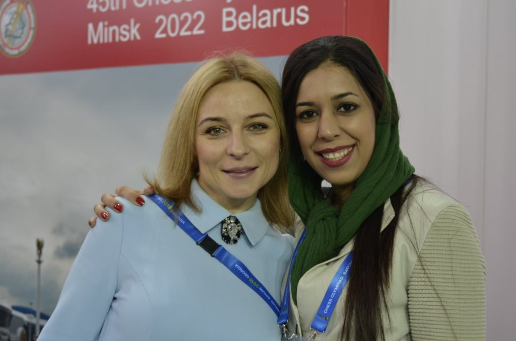 Standing from left President of Belarus Chess Federation Ms Anastasia Sorokina and IA Shohreh Bayat who is the Secretary of the Iran Chess Federation.