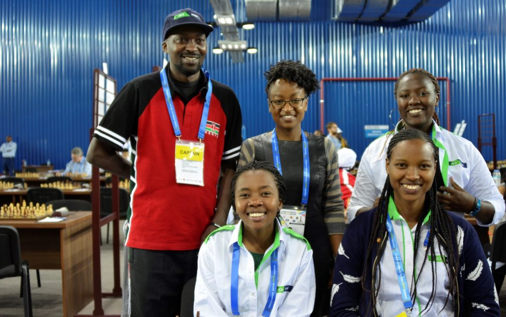 Standing from left - Team Captain Moses Andiwoh, Maria Rehema who is an arbiter, Joyce Nyaruai. Sitting from left Sasha Mongeli & Daphne Mwikali.