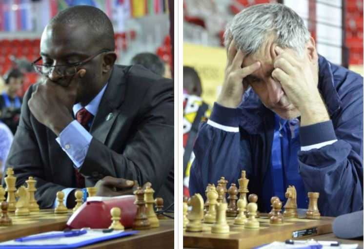 Doing Africa proud - IM Andrew Kayonde of Zambia holding the well loved GM Vassily Ivanchuk of Ukraine to a draw.