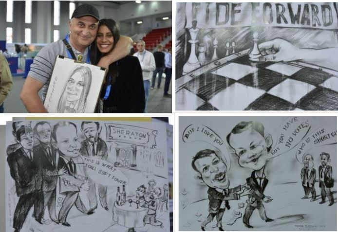 Temur Didaini poses with Wissali Hilali of Tunisia with a caricature he did of her.