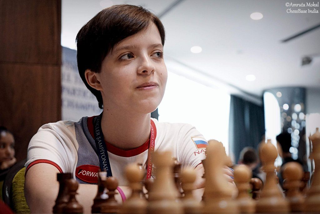 Aleksandra Maltsevskaya in actionduring the World Junior. Photo credit Amruta Mokal of Chessbase India.