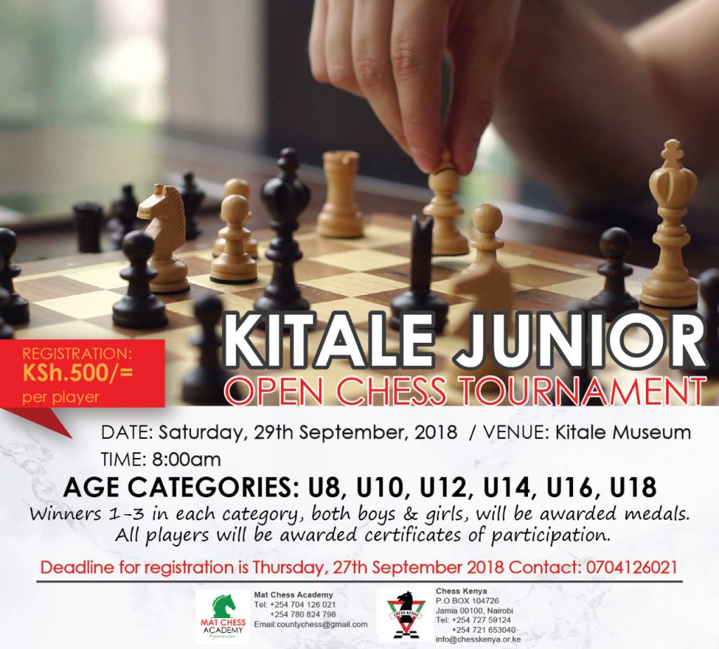 Poster of the Kitale Junior Open Chess Tournament.