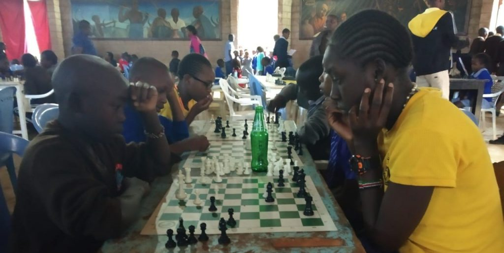The playing hall of the Kitale Junior Open Chess Tournament.