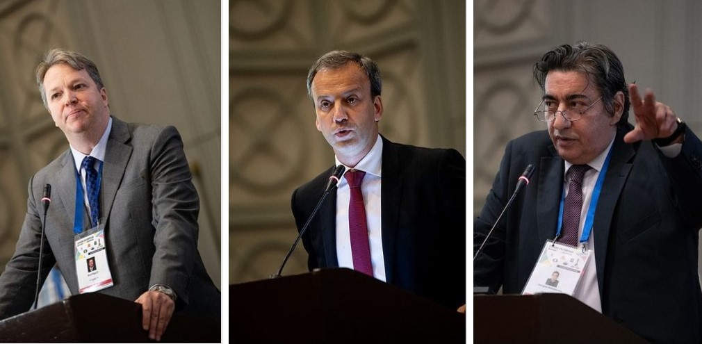 FIDE Presidential candidates from left Nigel Short, Arkady Dvorkovich, Georgios Makropoulos. Photo credit David Llada.
