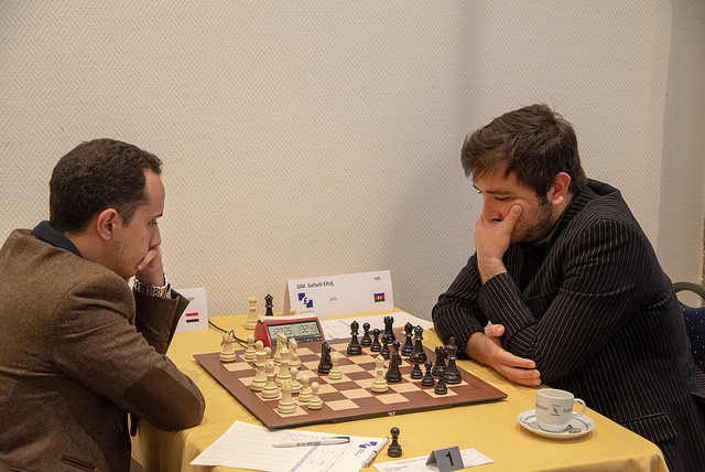 GM Bassem Amin left. Photo credit https://www.hoogeveenchess.nl/en.