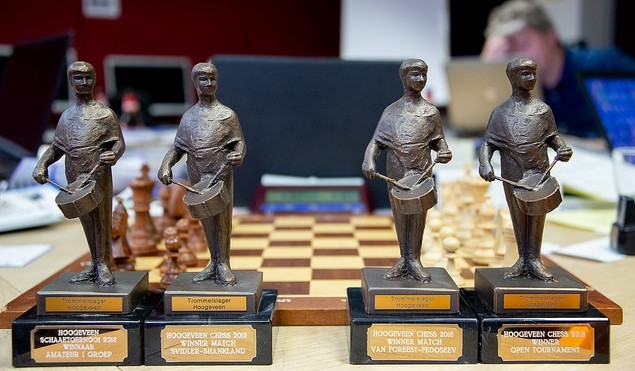 Some of the unusual trophies for the winners. Photo credit https://www.hoogeveenchess.nl/en.